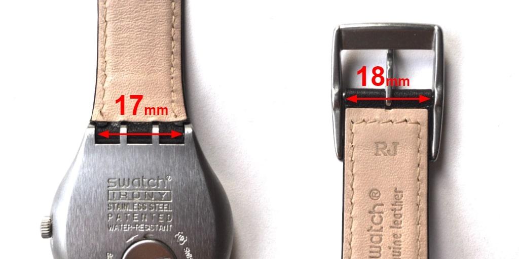 スウォッチのベルトサイズを知るためにアイロニーの場合の測り方を示す画像